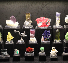 A private collection of fine minerals on display